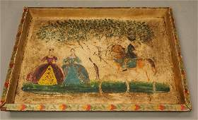 Signed G. HUNT Handpainted Primitive Wood Tray. C