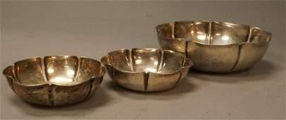 "3pc JOEL F. HEWES Handmade Sterling Bowls. One 7"""