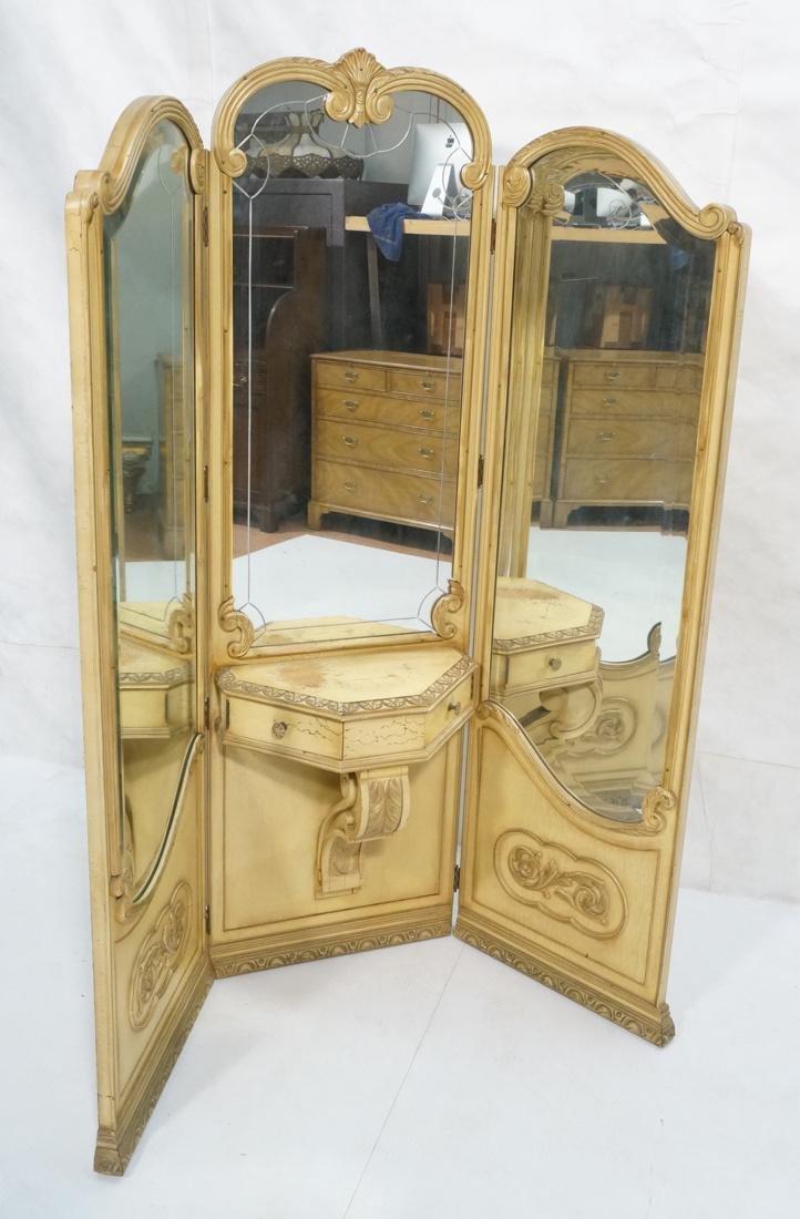 Vintage Folding Screen Vanity 3 Hinged Mirror Pan