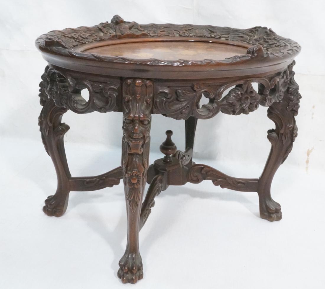 Vintage Heavily Carved Oval Side Table. Oval flor