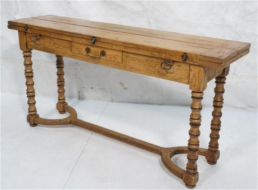 Vintage Flip Top Hall Console Sofa Table Inlaid