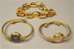 3pc GUCCI Jewelry Lot. Gold Tone Link Bracelet.