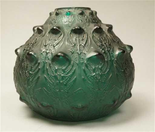 Antique R Lalique Emerald Green Thistle Vase 3d