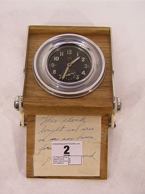 2: UTI Paris France Folding Clock.  Wood, Aluminum, and