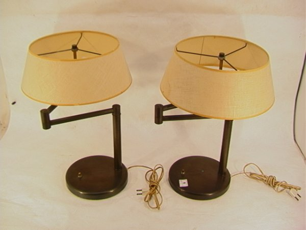 4: Pair Walter Von Nessen Table Lamps.  Adjustable arm