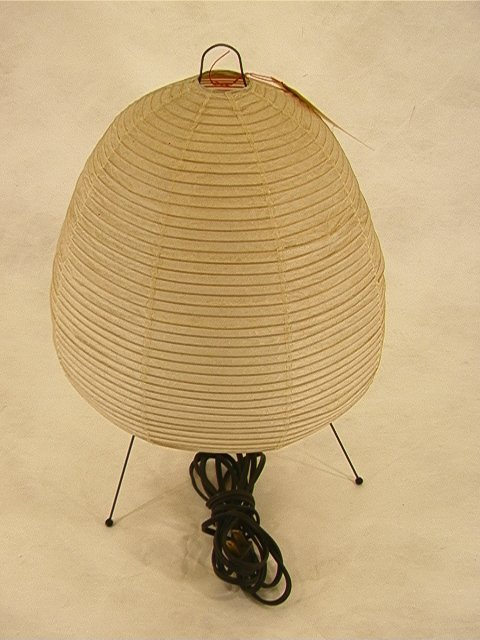 9: Isama Noguchi Paper Table Lamp with wire frame.  Pap