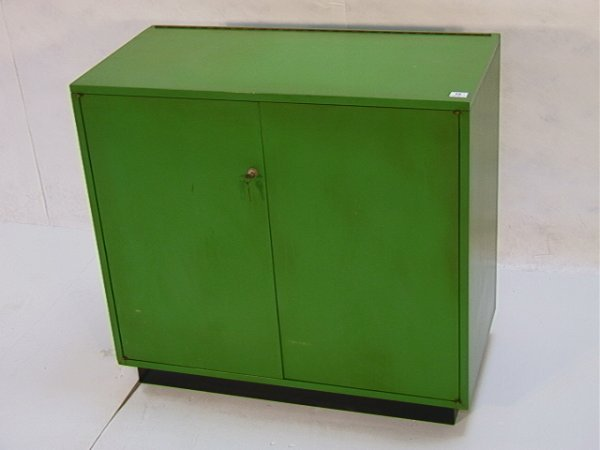12: Harvey PROBBER Green Lacquer Bar Cabinet Lift top o