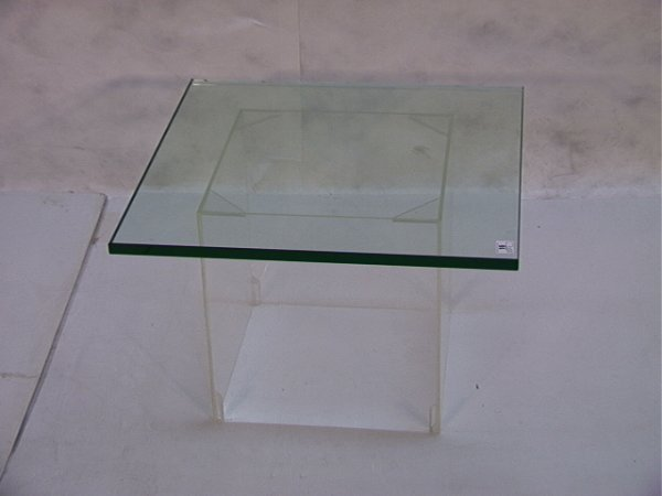 16: Lucite and Glass Low Side Table Thick Glass Top sup