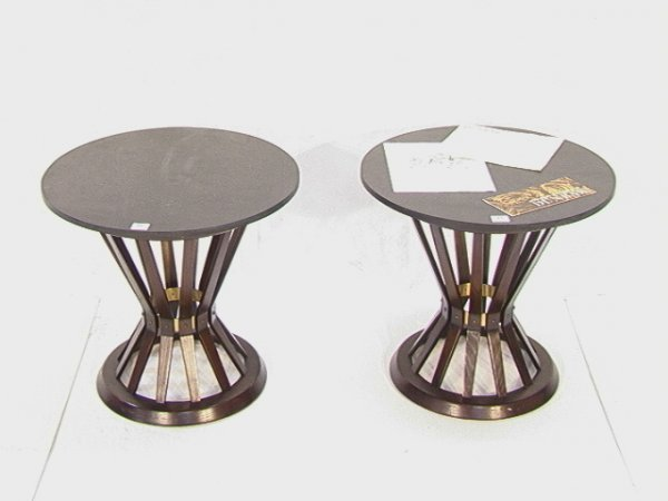 21: Pr Dunbar Sheaf of Wheat Side Tables Black Slate To