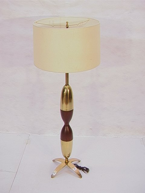 23: Lg Modernist Brass Wood Table Lamp Hourglass form w