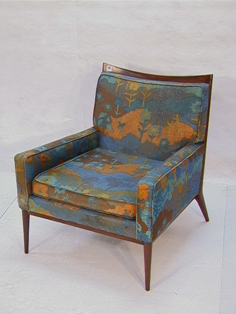 190: Paul McCobb Lounge Chair with Wood Frame.  Upholst