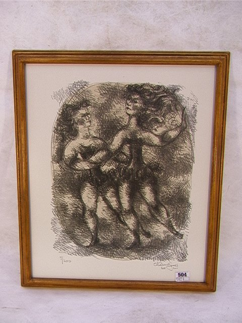 504: CHAIM GROSS 1966 Lithograph Print 7/200 Limited. S