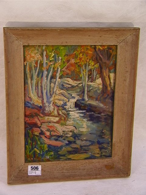 506: AB DOUGHTEN oil on board Nantucket Stream and tree