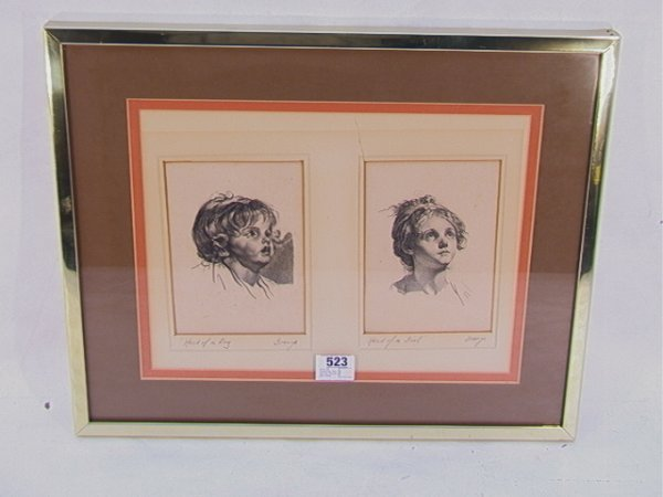 523: GREUZE Engravings Boy and Girl, Framed and matted