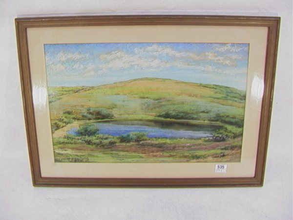 535: AB FOLGER Gouache Lake and Hill Double signed   Di