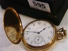 595: 14K YG Gold ELGIN Large Pocket watch. Large Pocket