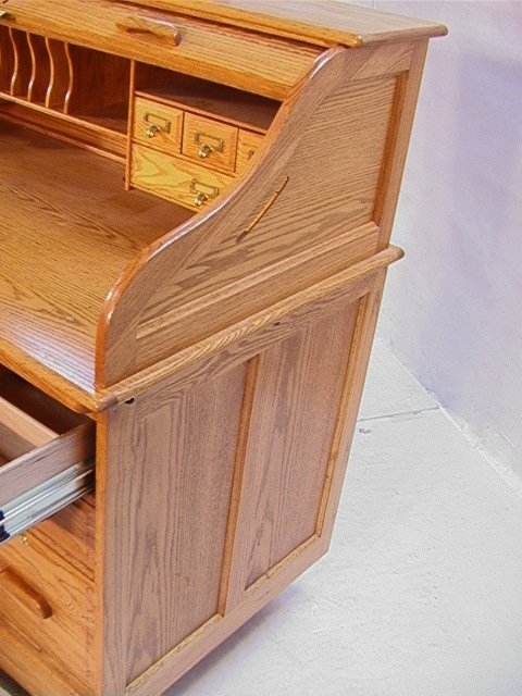 803 OAK Roll top desk with chair Winners ly Dime