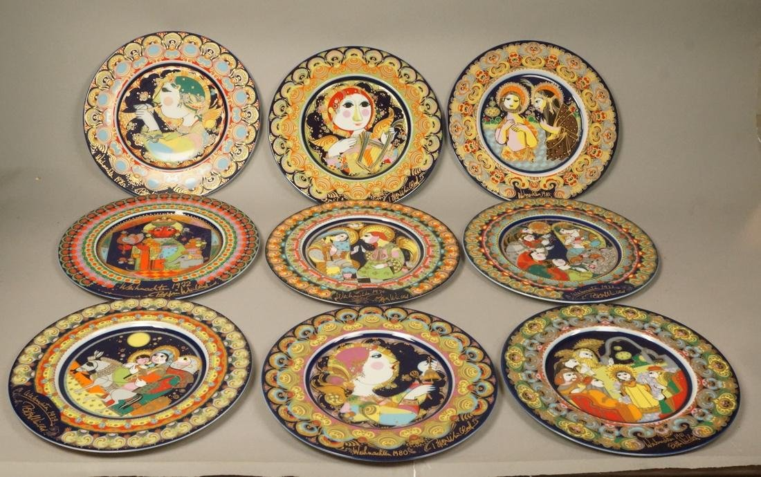 9 BJORN WIINBLAD for ROSENTHAL Plates. Christmas.
