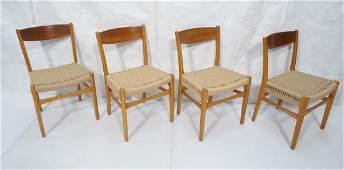4pc Danish Modern Teak Side Chairs Woven Rope Sea