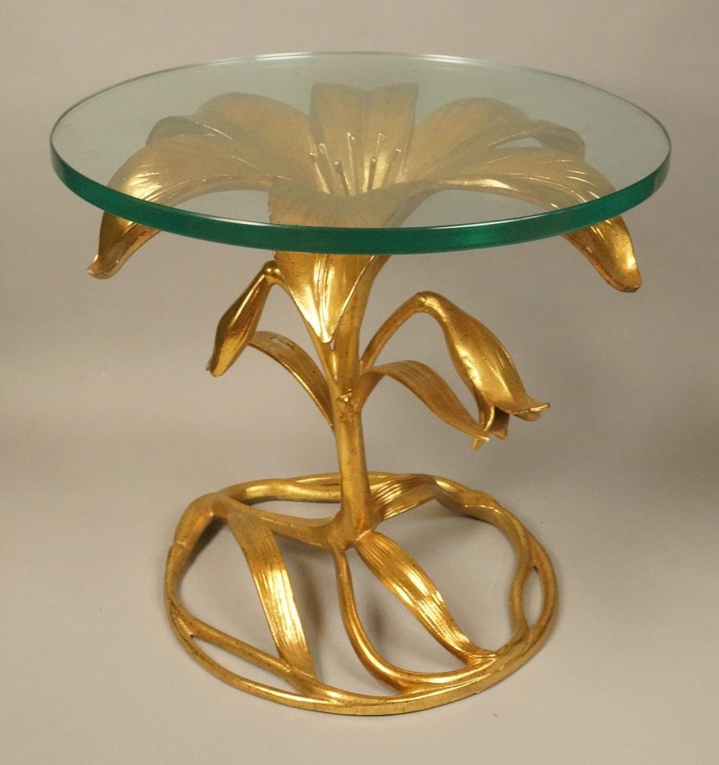 ARTHUR COURT Lily End Table. Gold painted with bl