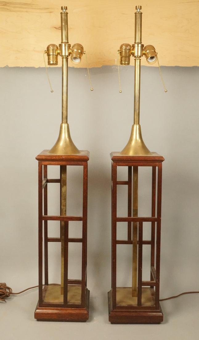 Pr Square Column Form Walnut Brass Table Lamps. W