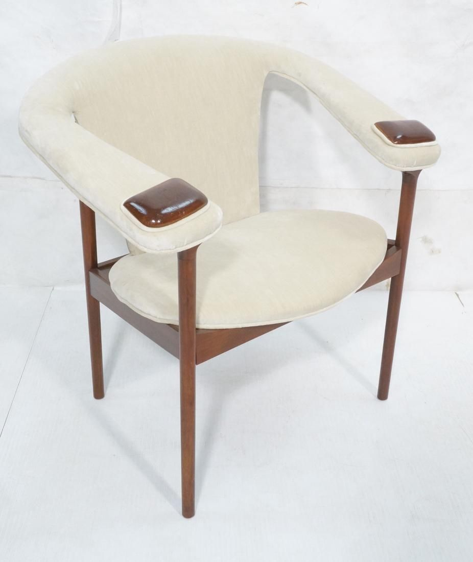 Modernist Cream Velvet Upholstered Lounge Chair.
