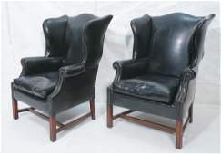 Pr Tall Back Black Leather Wing Chairs Brass Tac