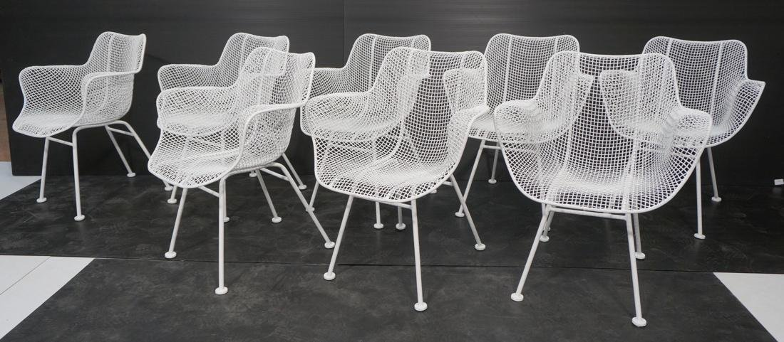 8 RUSSELL WOODARD White Metal Mesh Arm Chairs. Ou