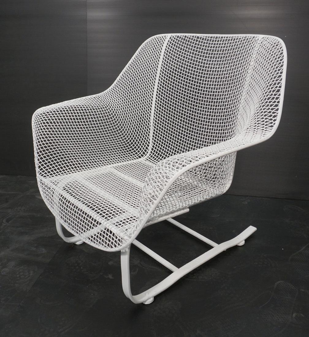 RUSSELL WOODARD White Metal Mesh Arm Spring Chair