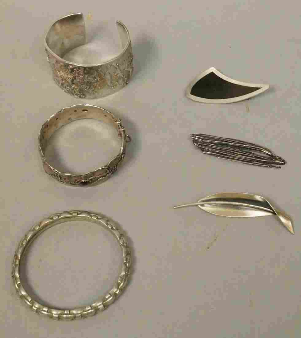 6pc Modernist Silver Jewelry Lot Brooches & Brace