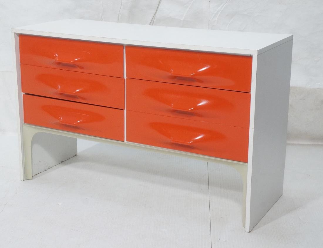 RAYMOND LOEWY Red Molded Glass Drawer Sideboard.