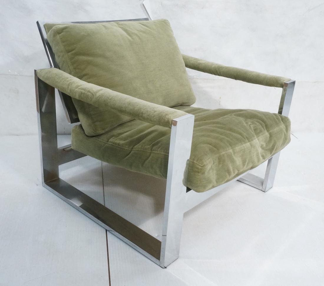 MILO BAUGHMAN Style Chrome Steel Lounge Chair. Gr