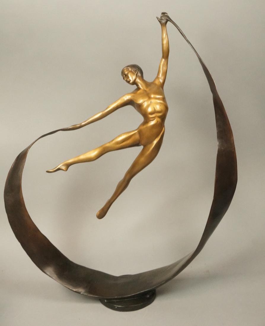 Contemporary Bronze sculpture.  Ribbon Dancer.