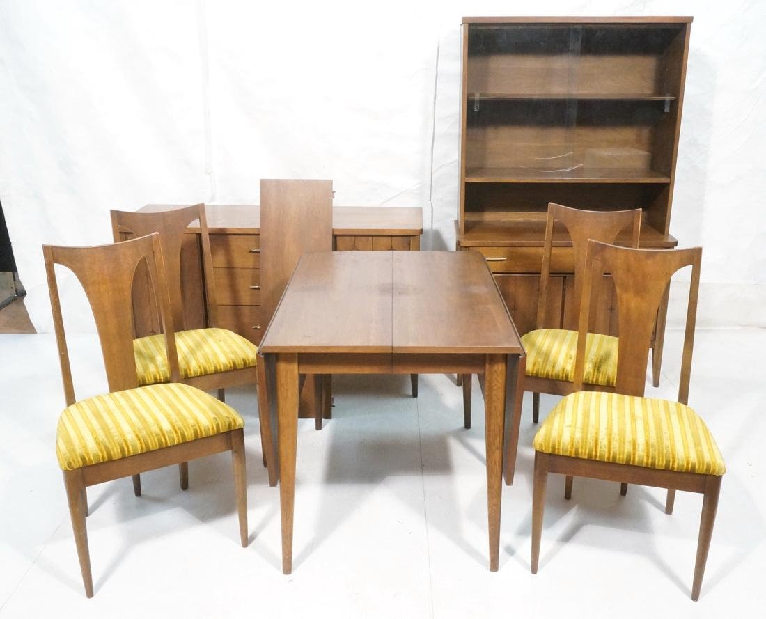 7pc Modern Walnut Dining Room Set. Dining Table.