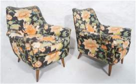 Pr McCobb Style Lounge Chairs Quilted Floral Chi