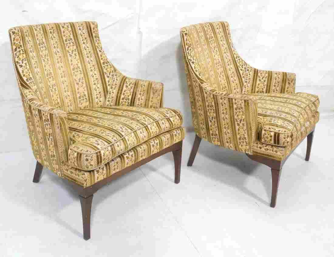 Pr Sloped Arm Upholstered Lounge Chairs. Velvet s