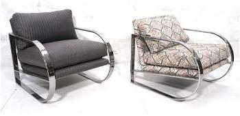 Pair Milo Baughman Style Chrome Lounge Chairs. Wi