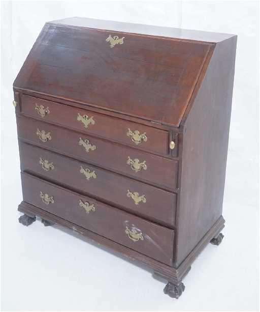 - Antique Mahogany Drop Front Secretary Desk. Brass