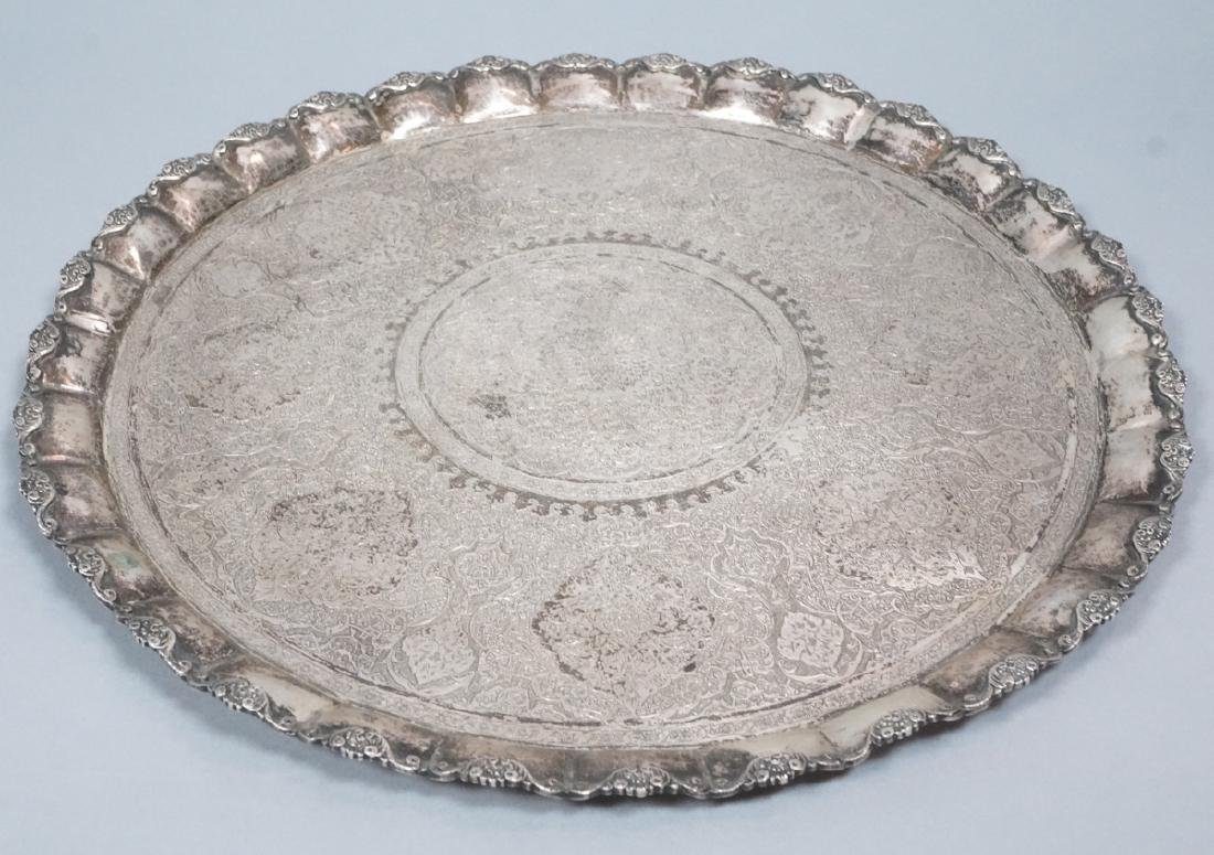 Russian Vintage Sterling Silver Serving Tray. Fol