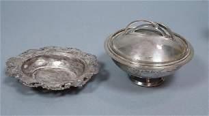 2pc Sterling Silver Tableware Lot. Art Deco lidde