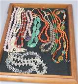 11 pc Vintage Bead Necklace Lot. Chinese carved r