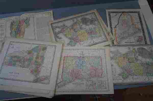 18 pcs Maps of New England & New York 19th Centur