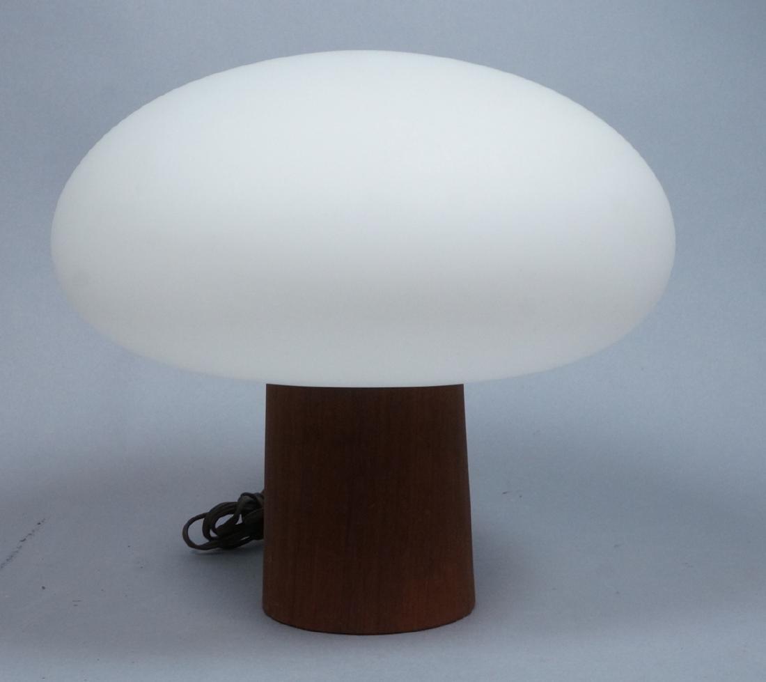 LAUREL Walnut Glass Mushroom Table Lamp. Modern.