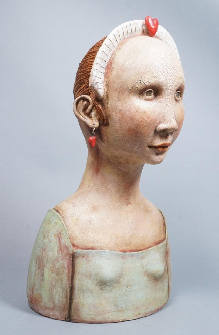 CHARLENE DOIRON REINHART Figural Ceramic Bust. Wo