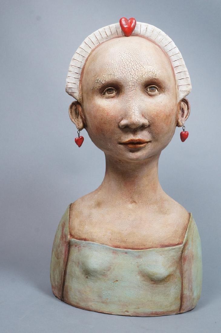 CHARLENE DOIRON REINHART Figural Ceramic Bust. Wo - 3