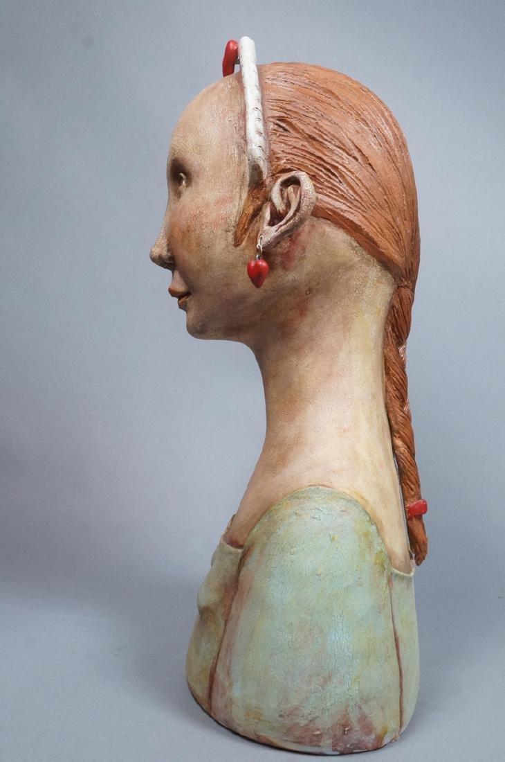 CHARLENE DOIRON REINHART Figural Ceramic Bust. Wo - 4