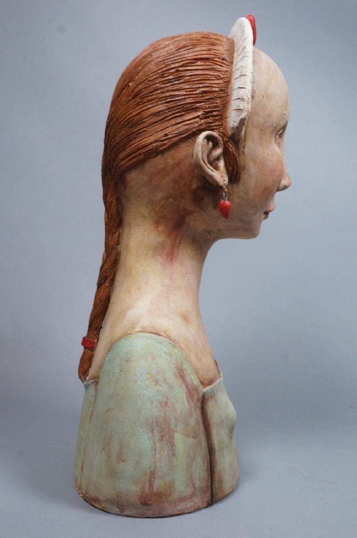 CHARLENE DOIRON REINHART Figural Ceramic Bust. Wo - 6