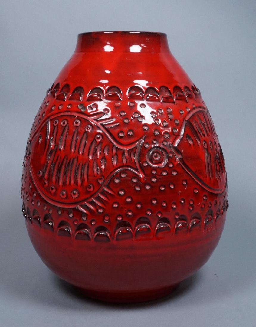 Lg Red Modern Italian Pottery Fish Vase. Possibly