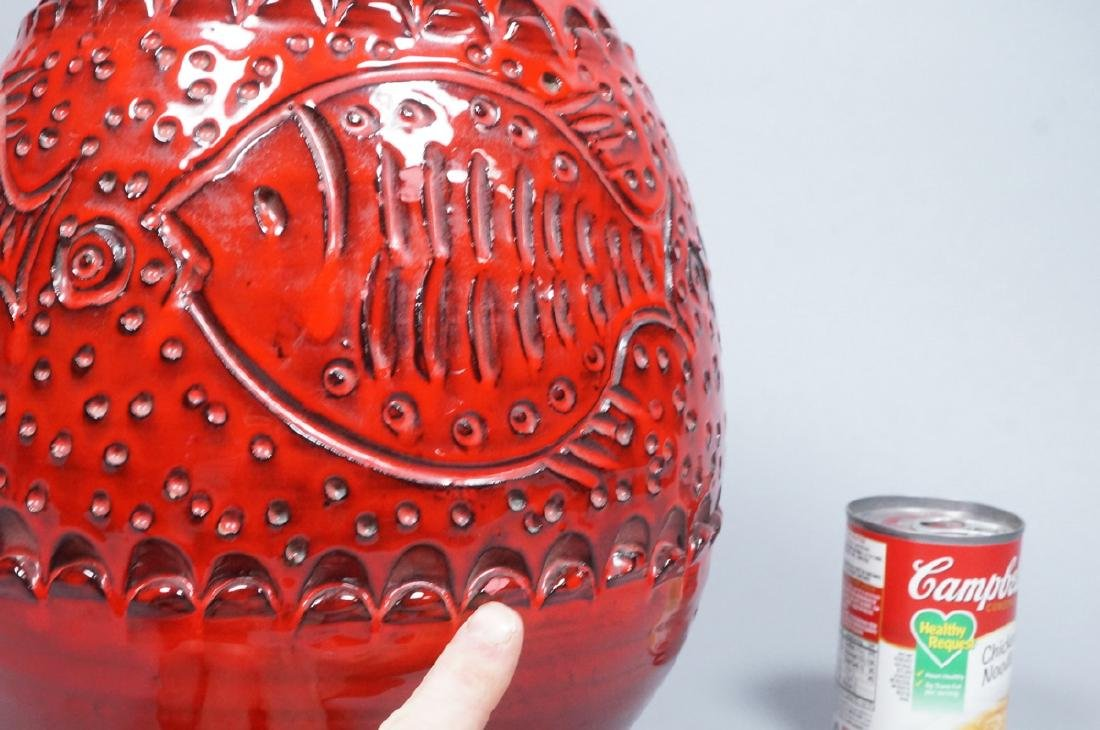 Lg Red Modern Italian Pottery Fish Vase. Possibly - 3