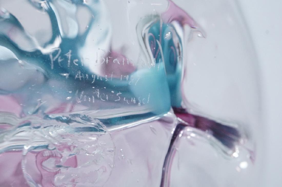 Signed PETER BRAMHALL Art Glass Sculpture. Modern - 6